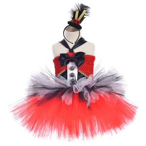 Circus Ringmaster Girls Tutu Dress Red and Black White Girls Birthday Party Dress Kids Christmas Halloween Fancy Dress Costumes