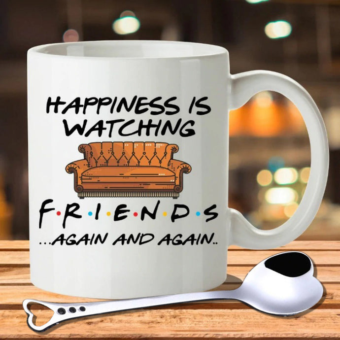 Tv Shows Friends Mugs Travel Beer Cup Porcelain Coffee Mug Tea Cup with Stirring Spoon