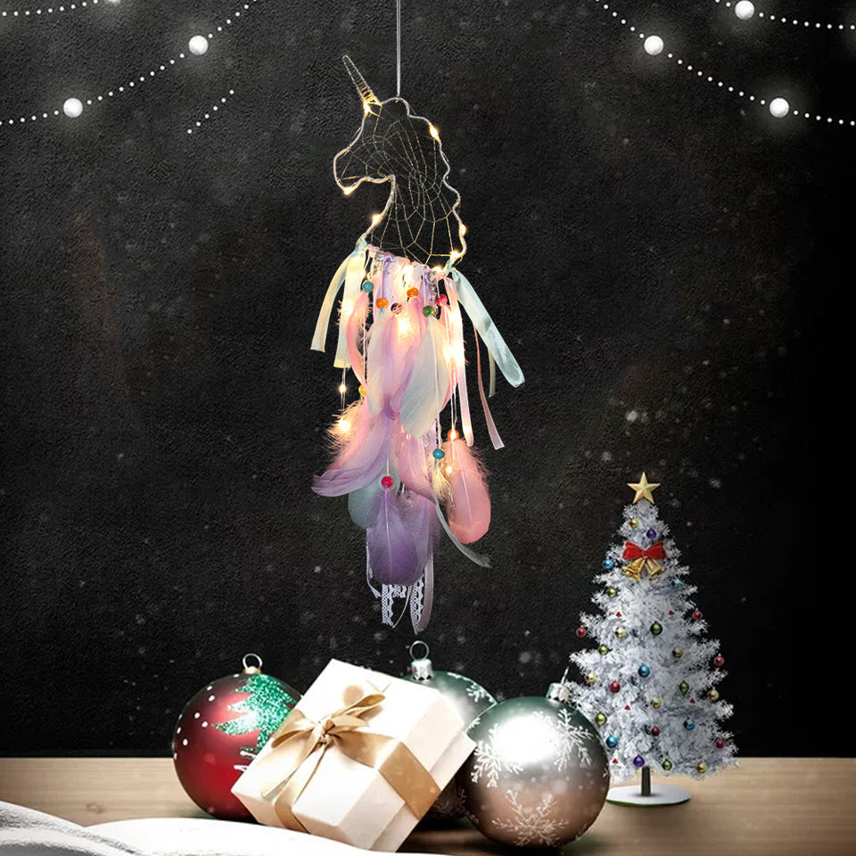 Unicorn Walling Hanging Decor Feather Dream Catcher Handmade