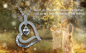 925 Sterling SIlver You are the heart of our family Necklace Mom heart Pendant CZ Good luck Lady Jewelry with box