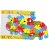 Kids Wooden animal 26 letter puzzles, children's educational toys, Cartoon animal lion/elephant etc jigsaw puzzle