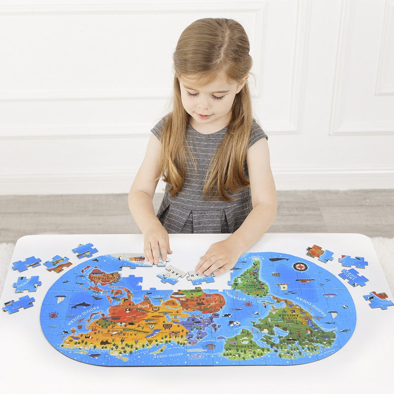 100pcs Map Jigsaw Puzzle Toys Children's Puzzle Jigsaw Kids Cognitive Baby Early Education Puzzle Gift Box Baby Toy