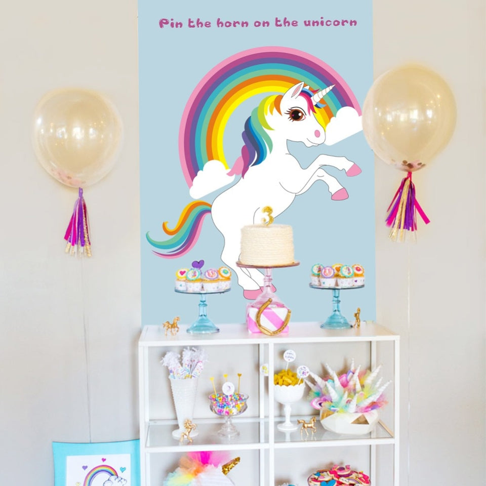 Unicorn Party Game Pin The Horn On The Unicorn Paper Wall Stickers