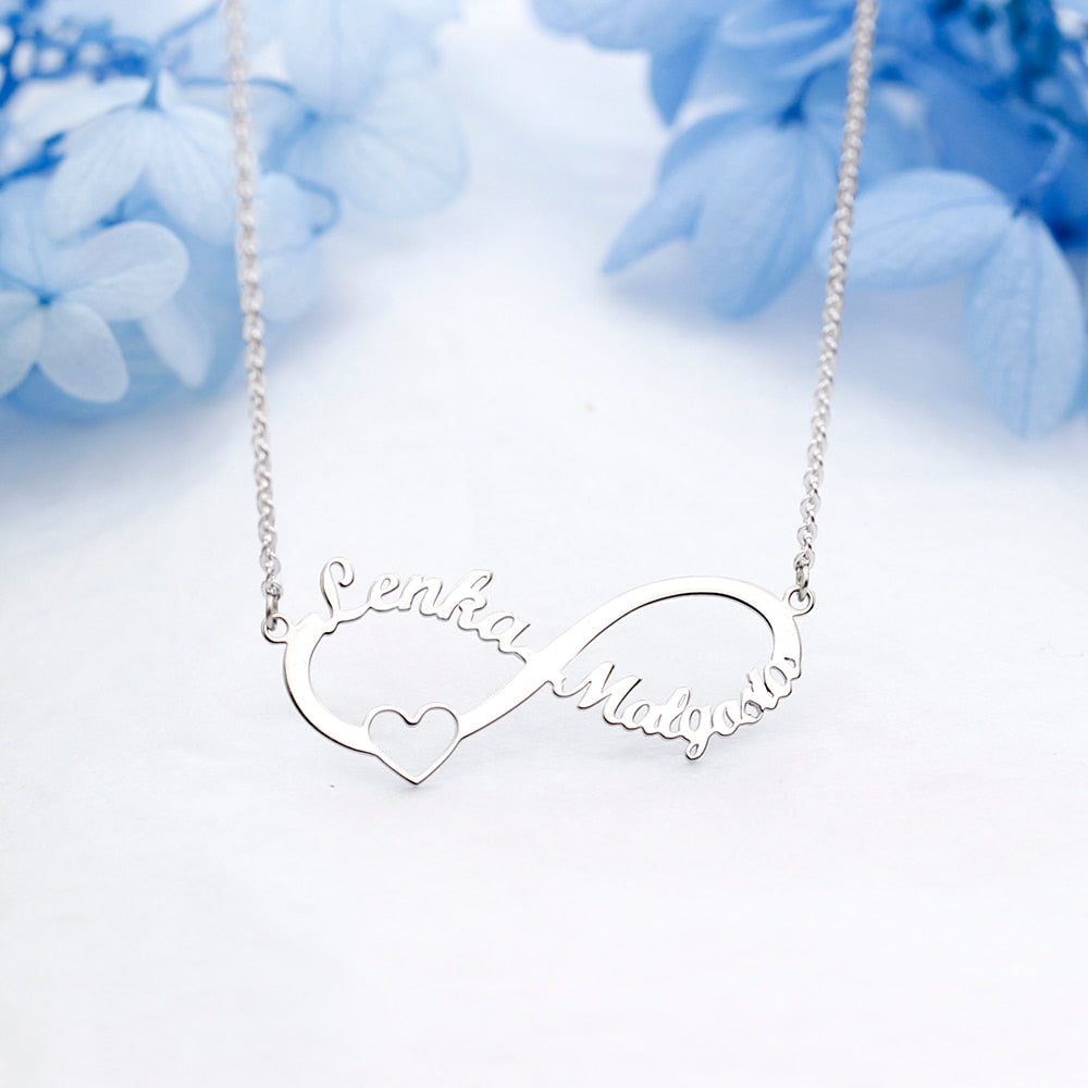 4e5b7bd00718e Eternal Infinity Sterling Silver Personalized Name Necklace Custom Made Any  Name Pendant Necklace