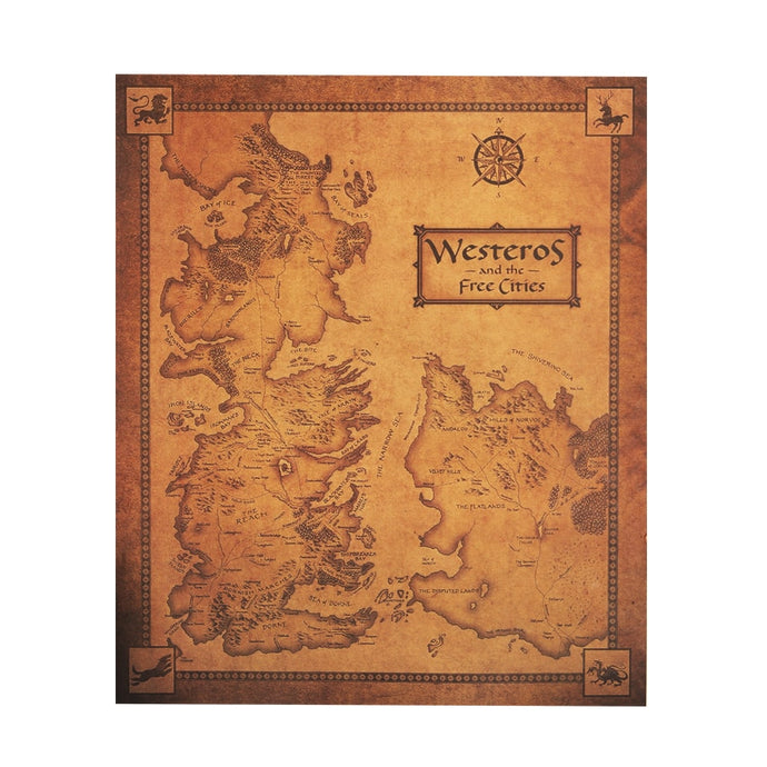 GOT Westeros Map Retro Kraft Paper Poster Interior Bar Cafe Decorative Painting Wall Sticker 16.5X14.2 Inch