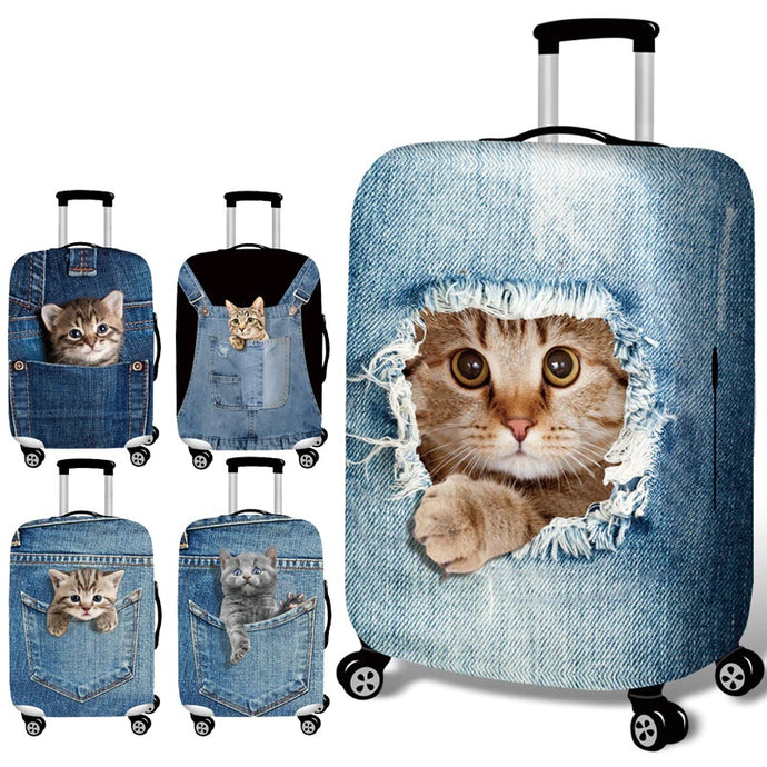 Stretch Fabric Cute Cat Luggage Protective Cover Suit 18-32 Inch Trolley Suitcase Case Covers Travel Accessories