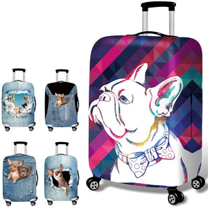 Stretch Fabric Pet Pattern Luggage Protective Cover Suit 18-32 Inch Trolley Suitcase Case Covers Travel Accessories