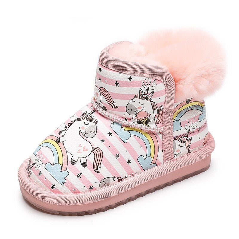 Winter Girls Snow Boots Cartoon Lovely Unicorn Pattern Boots for Kids Girls Pu Leather Plush Fur Soft Keep Warm Children Boots