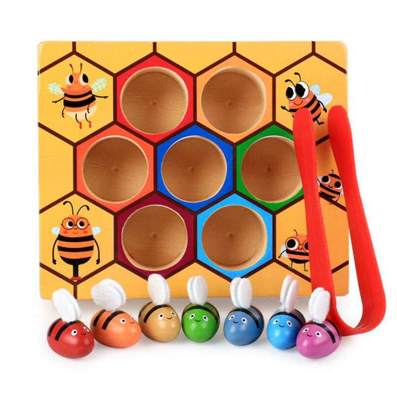 Wooden Leaning Educatinal Toys Montessori  Hardworking Bee Hive Games Children Toys 85