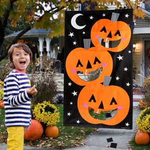 Halloween Party Games Hanging Pumpkin Bean Bag Toss Game +3 Bean Bags Kids Toys Outdoor Halloween Decoration Props