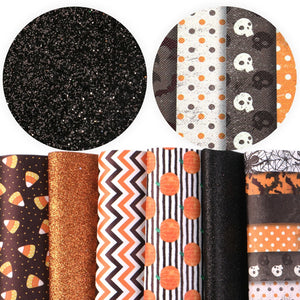6pcs/set 20*34cm Halloween Printed Glitter Faux Synthetic Leather Fabric Set DIY Hairbow Bag Materials
