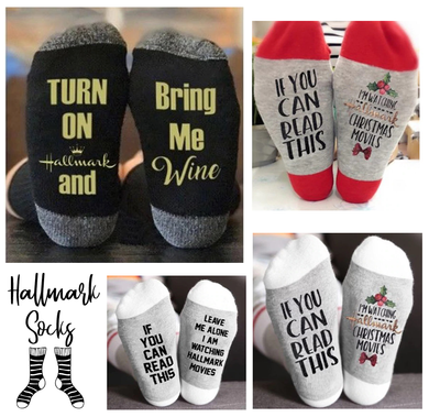 4 Pair Hallmark Movies Soft Socks Christmas Letters Printed Women, Man Winter Warm Socks Gifts