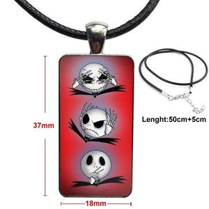 Halloween The Nightmare Before Christmas Jack Fashion Glass Cabochon Pendant Rectangle Necklace Choker Necklace Jewelry