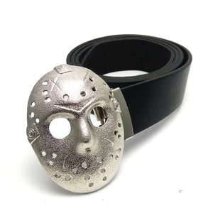 "Belts for men with "" friday the 13th"" jason voorhees 3D mask silver belt buckle metal Black PU leather belt men"