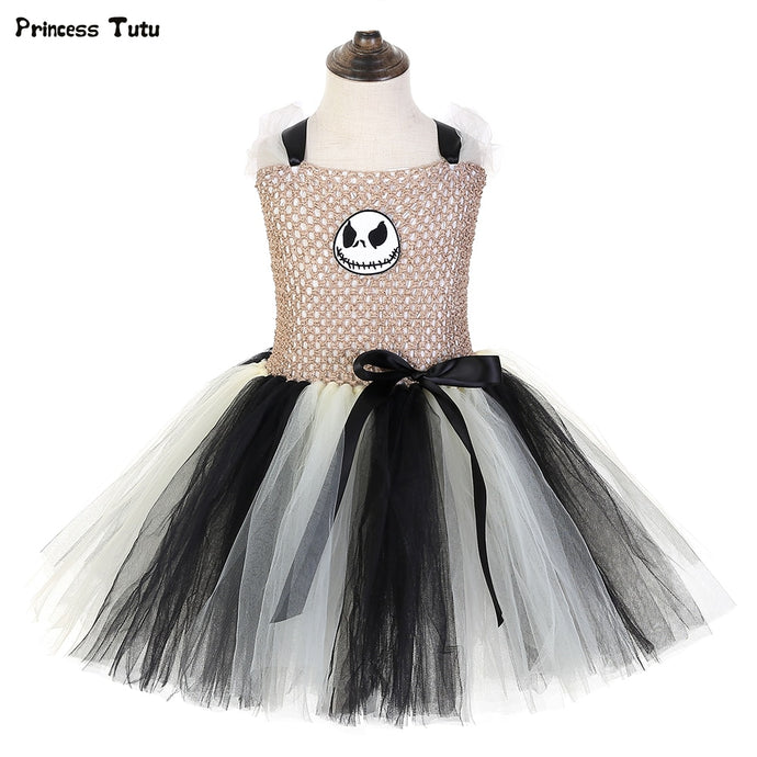 Jack Skellington Tutu Dress Nightmare Before Christmas Children Halloween Costume for Kids Ghost Girls Carnival Party Dress 1-14