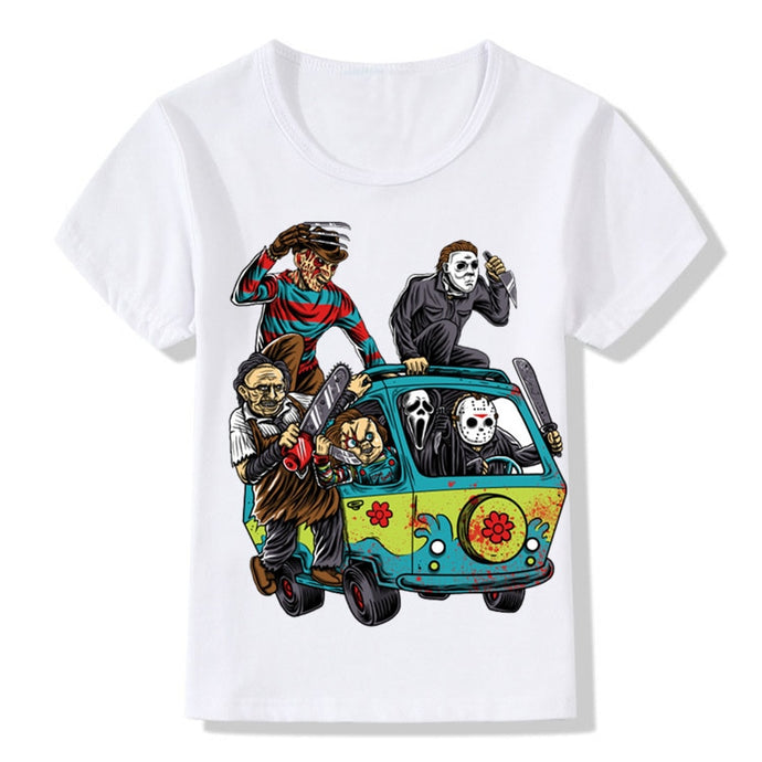 Children The Massacre Machine Funny T-shirt Boys and Girls Summer Cartoon T shirt Kids Tops Baby Shirt,HKP016