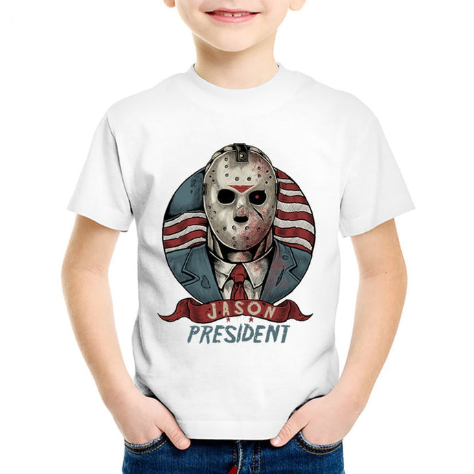 Jason For President Printed Children T-shirts Kids Summer Short Sleeve Tees Boys/Girls Skull Casual Tops Baby Clothing,HKP2077