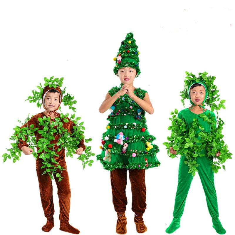 Toddler Christmas Tree Costume.Children Christmas Tree Cosplay Costumes Green Trees Adult Party Wear Shrubs Halloween Costume For Kids
