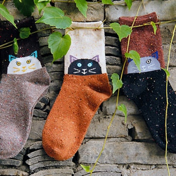 Ladies warm autumn and winter wool socks Various animal patterns such as fox owl elephant Comfortable women's wool socks