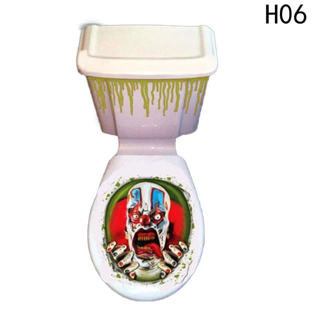 Halloween Toilet Seat Cover Scary Fancy Dress Horror Party Decoration Paste Tatto Bathroom Toilet Cover Sticker