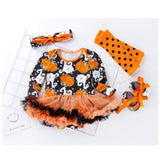 Cotton baby girl romper long sleeve pumpkin halloween costume baby rompers set newborn baby clothes baby romper dress R28