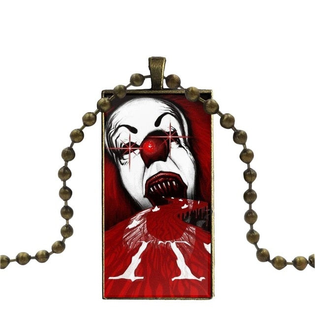 Stephen Kings It Pennywise Clown Horror For Women Kids Gift Glass Pendant Necklace Handmade Half Pendant Rectangle Necklace