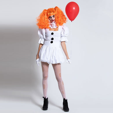 White Stephen King's It Cosplay Costume Adult Pennywise Costume women Sexy Clown Costume for halloween Outfit Suit