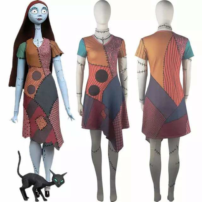 The Nightmare Before Christmas Sally Skellington Adult Cosplay Costume Dress