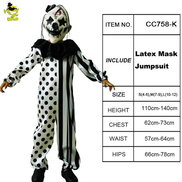 Killer Clown Halloween Costumes For Girls.Boys Killer Clown Costumes Halloween Masquerade Party Role Play Outfit Children With Mask Killer Disguise Party Sets