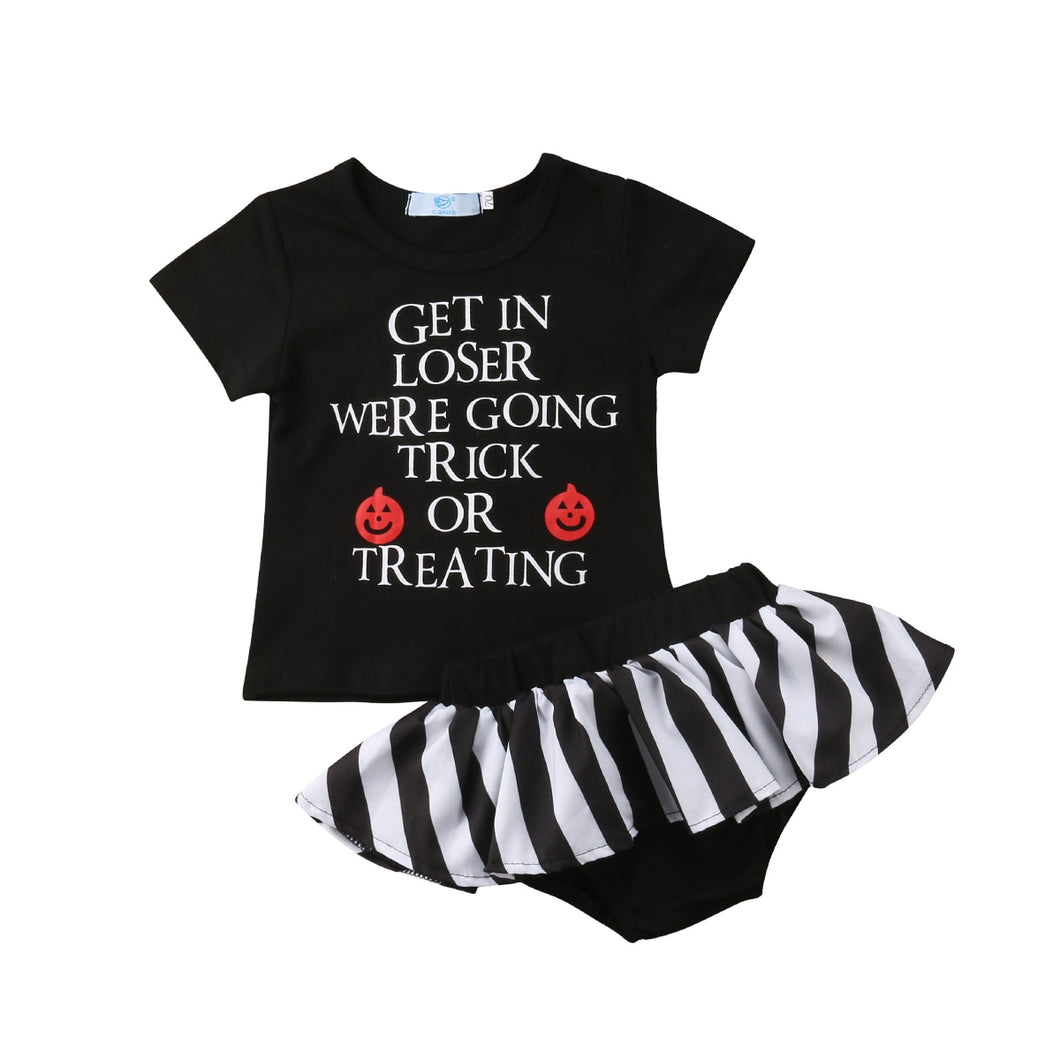 0-24M Newborn Baby Girl Halloween Clothes Short Sleeve Cotton T-shirt Tops+Tutu Skirted Bloomers Shorts 2PCS Outfits Bebek Giyim