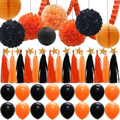 55pcs Halloween Party Decorations Supplies Kit Paper Lantern Tassels Hanging Garland Banner Tissue Pom Poms Orange Black