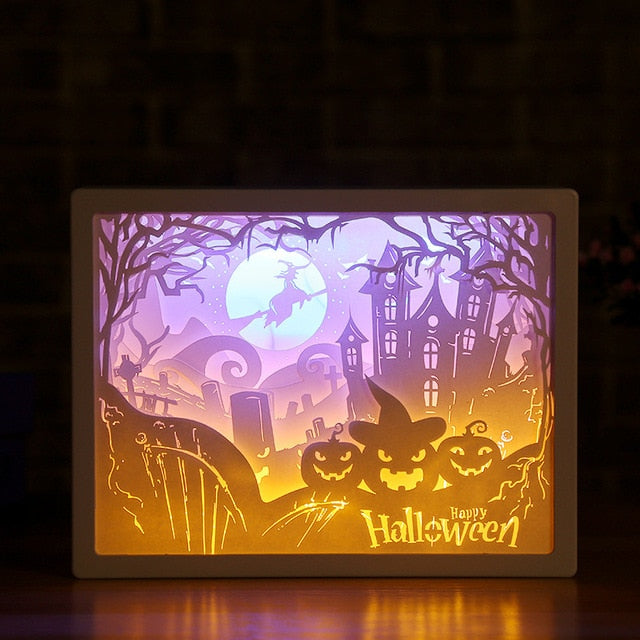 3D Led Lamp Paper Sculpture Night Light DIY Handmade Papercut Paper Carving Light Lamp For Halloween Gift