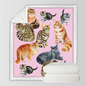 Cat Bed Blanket Cartoon Kids Throw Bedspread Cute Animal Sherpa Plush Blanket Cartoon Pet Bed manta Bedding