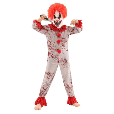 Kids Scary Clown Monster Cosplay Costume Red White Unisex Halloween Clothes with 2 Pcs Mask for Halloween or Theme Party