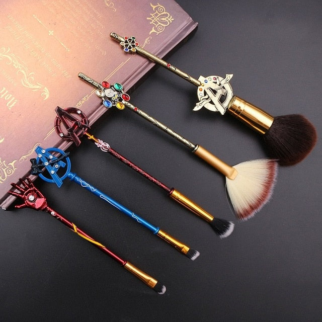 Super Hero Makeup Brushes Set Marvel Series Retro Style 5pcs Avengers