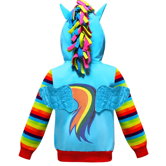 Children Autumn Teenager Girls Cartoon Little Pony Unicorn Jacket Coat Kids Stiripe Hoody Clothing Outerwewear 2 4 6 8 10 Y