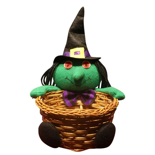 100% Brand New Unique Design Doll Fruit Decoration Bowl Halloween Ghost Candy Basket Home Decor Hand-Woven
