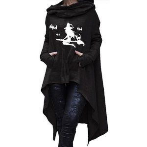 Witch Halloween Print Hoodies for Women Long