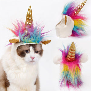2pcs New Cat Unicorn Hat, Halloween Festival Cat Dog Mane Cap, Teddy Puppy Decorative Headgear Scarf Pet Novel Headwear Costume