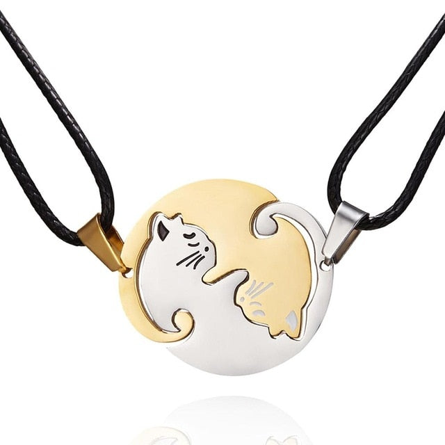 1 pair splice Cat Couple Necklace Stainless Steel love heart
