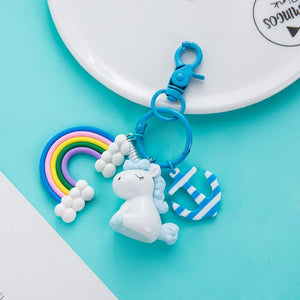 Plastic Silicon Kawaii Unicorn Key Pendant Keyring Plush Toys For Kids Girls Gift Bag Pendant Peluche Licorne Anchor Rainbow