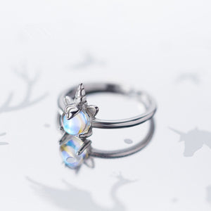 Sweet Lovely Unicorn Opening Ring S925 Sterling Silver Korean Fashion Moonstone Rings for Women Christmas Gift Jewelry