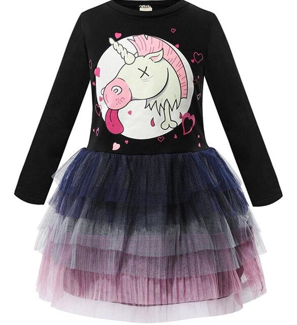 Baby Girls Cartoon Unicorn Rainbow Dresses Clothes Children Kids Party Christmas Brithday Dress Clothing 2 3 4 5  6  7 8 9 10Y