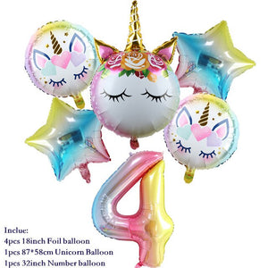6pcs/set Rainbow Gradient Unicorn Balloon 32 inch Number Balloons Birthday Party Decor Kids Baby Shower Unicorn Party Supplies