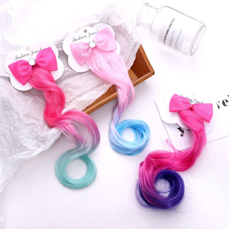 New Girls Lovely Gradient Colorful Wigs Bow Hairpins Princess Hair Ornament (Buy 2 PCS free ship)