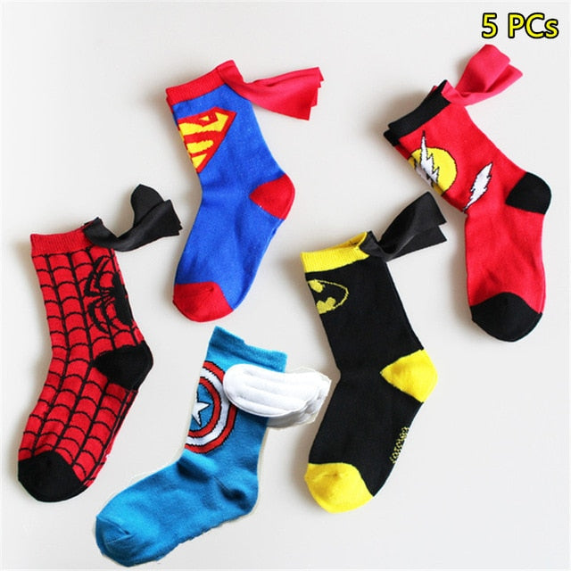 5Pairs 3-6T Kids Socks kids Spiderman Superman batman captain america Children's Football Basketball boys Socks christmas socks