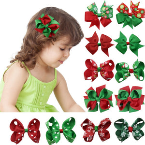 12Pcs Christmas hairbow Grosgrain Hairbow Clips Fashion Hair Accessories for girls