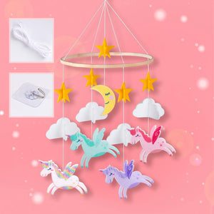 Unicorn Felt Wind Chimes Handmade For Baby Nursery home Decoration Bedroom Crib Mobile Planet Hanging Wind Chimes Birthday Gift