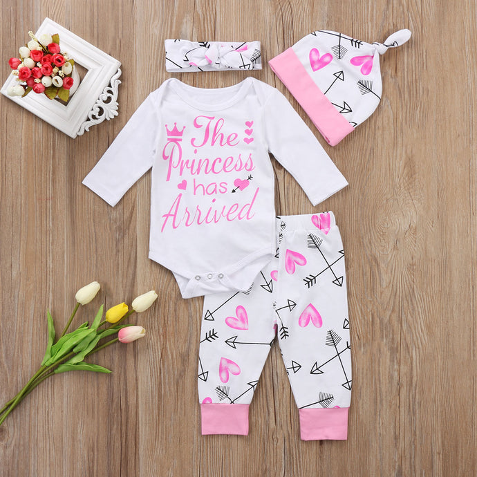 Girl Suits 4PCS Newborn Infant Baby Girls Clothes Playsuit Romper Pants  Outfit Set