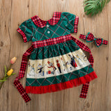 Christmas Party Dresses For Kids Baby Girls Princess Xmas Festival Big Bow Cartoon Printed Children Girls Short Sleeve Dress